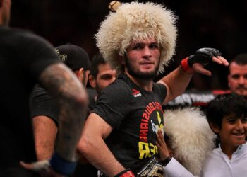 ABU DHABI, UNITED ARAB EMIRATES - SEPTEMBER 07: Khabib Nurmagomedov of Russia looks an after beating Dustin Poirier of United States in their Lightweight Title Bout during the UFC 242 event at The Arena on September 07, 2019 in Abu Dhabi, United Arab Emirates. (Photo by Francois Nel/Getty Images) ORG XMIT: 775400581 ORIG FILE ID: 1173001347