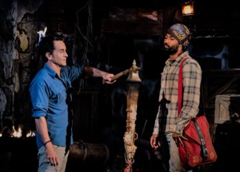 """MANA ISLAND - JUNE 11: """"This is Where the Battle Begins"""" - Jeff Probst extinguishes Wendell Holland's torch at Tribal Council on the Eighth episode of SURVIVOR: WINNERS AT WAR, airing Wednesday, April 1 (8:00-9:01 PM, ET/PT) on the CBS Television Network. Photo: Robert Voets/CBS Entertainment ©2020 CBS Broadcasting, Inc. All Rights ReservedJeff Probst;Wendell Holland"""