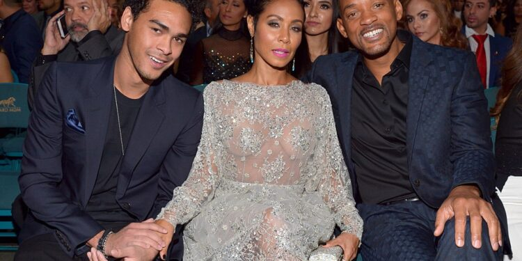 LAS VEGAS, NV - NOVEMBER 19: (L-R) Actor/recording artist Will Smith, actress Jada Pinkett Smith and Trey Smith attend the 16th Latin GRAMMY Awards at the MGM Grand Garden Arena on November 19, 2015 in Las Vegas, Nevada. (Photo by Lester Cohen/WireImage)